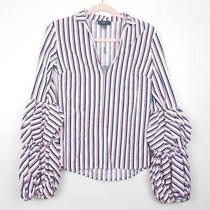 Greysn | Designer Red White Blue Stripe Blouse